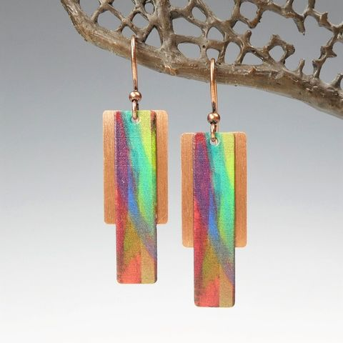 DC,Designs,-,Green,Orange,Multicolor,Column,on,Copper,Back,Abstract,Art,Earrings,5FE,DC Designs Jewelry, Art Print Earrings, DC Designs Earrings, Handmade Colorado
