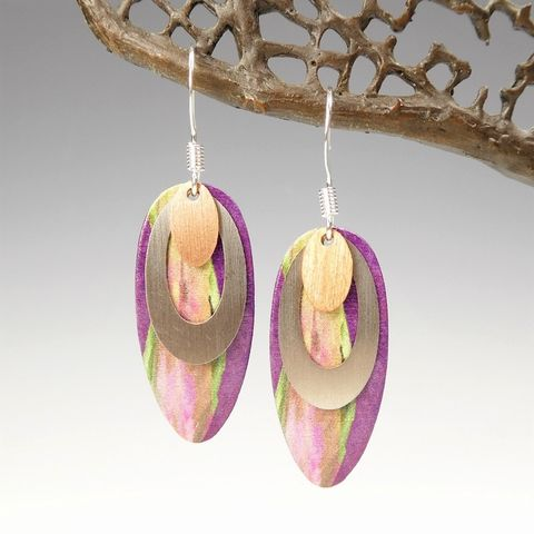 DC,Designs,-,Purple,Multicolor,Three,Layered,Oval,Art,Print,Earrings,4NDCS,DC Designs Jewelry, Art Print Earrings, DC Designs Earrings, Handmade Colorado