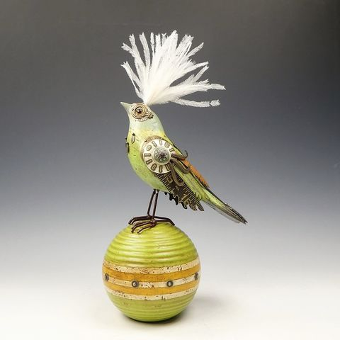 Mullanium,Bird,-,Pastel,Green,Bunting,on,Vintage,Ball,Mullanium Birds, Mullanium songbirds, mullanium by jim and tori, mullanium art