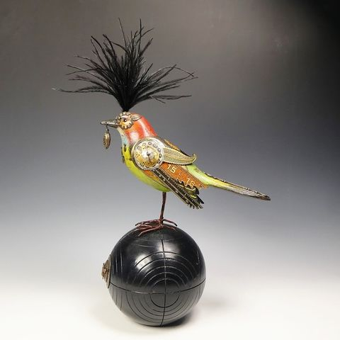 Mullanium,Bird,-,Orange,with,Seed,on,Vintage,Bocce,Ball,Mullanium Birds, Mullanium songbirds, mullanium by jim and tori, mullanium art