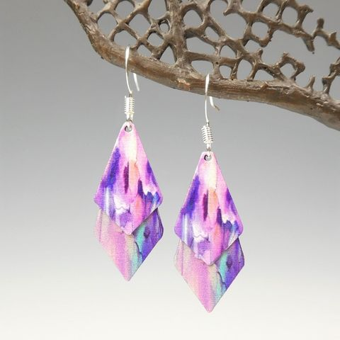 DC,Designs,-,Pink,Purple,Floral,Abstract,Art,Print,Layered,Necktie,Shapes,Earrings,6NTT,DC Designs Jewelry, Art Print Earrings, DC Designs Earrings, Handmade Colorado