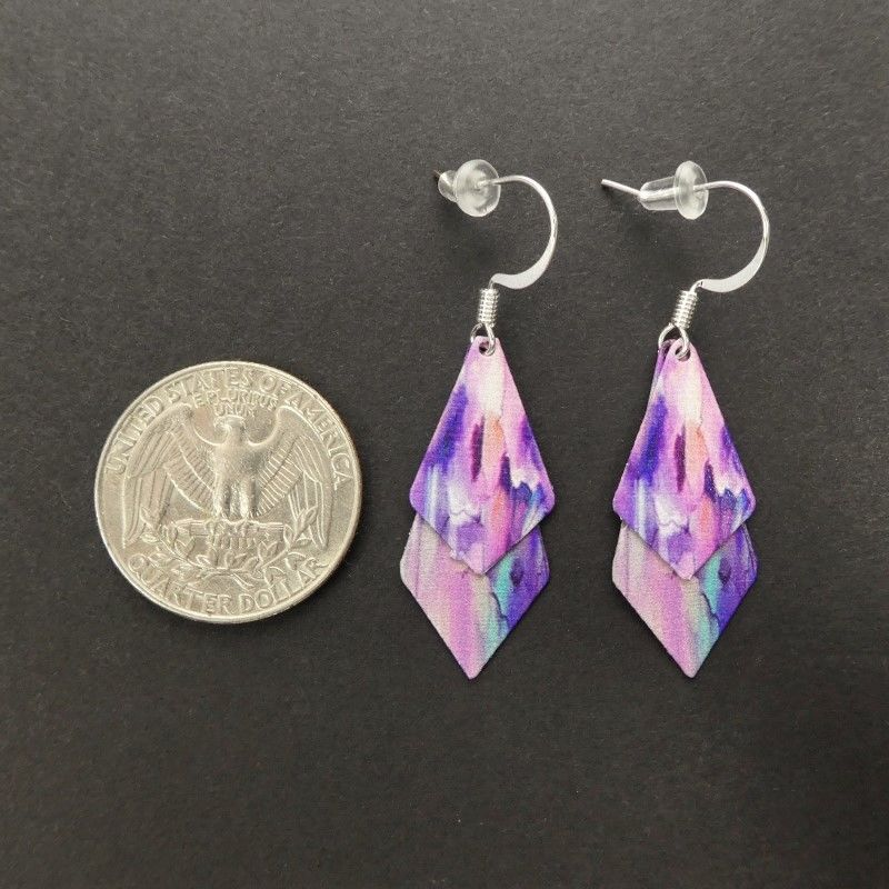DC Designs - Pink Purple Floral Abstract Art Print Layered Necktie Shapes Earrings 6NTT - product image