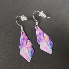 DC Designs - Pink Purple Floral Abstract Art Print Layered Necktie Shapes Earrings 6NTT - product images 3 of 4