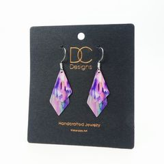 DC Designs - Pink Purple Floral Abstract Art Print Layered Necktie Shapes Earrings 6NTT - product images 4 of 4