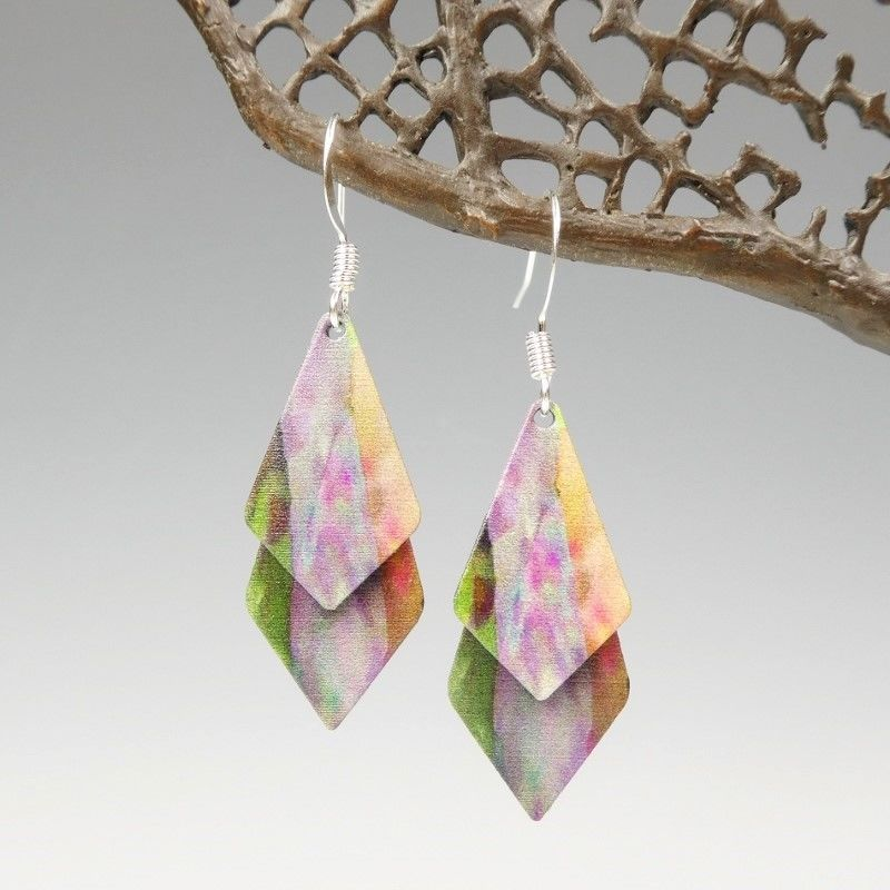 DC Designs - Green Pink Yellow Multicolor Abstract Art Layered Necktie Shapes Earrings 3NTT - product image