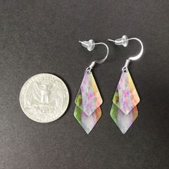 DC Designs - Green Pink Yellow Multicolor Abstract Art Layered Necktie Shapes Earrings 3NTT - product images 2 of 4