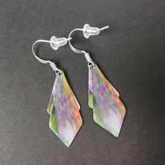 DC Designs - Green Pink Yellow Multicolor Abstract Art Layered Necktie Shapes Earrings 3NTT - product images 3 of 4