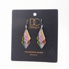 DC Designs - Green Pink Yellow Multicolor Abstract Art Layered Necktie Shapes Earrings 3NTT - product images 4 of 4