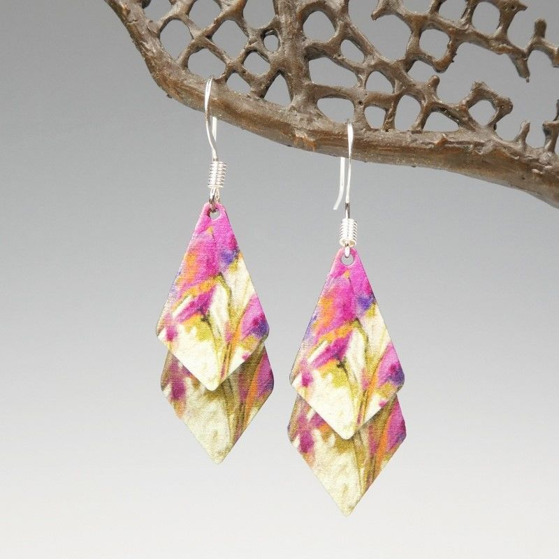 DC Designs - Pink Cream Multicolor Abstract Art Layered Necktie Shapes Earrings 11NTT - product image