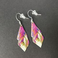 DC Designs - Pink Cream Multicolor Abstract Art Layered Necktie Shapes Earrings 11NTT - product images 3 of 4