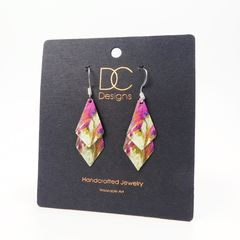DC Designs - Pink Cream Multicolor Abstract Art Layered Necktie Shapes Earrings 11NTT - product images 4 of 4
