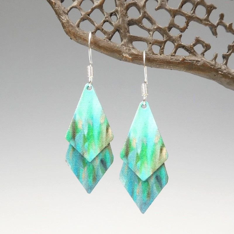 DC Designs - Blue Green Abstract Art Double Sided Layered Necktie Shapes Earrings 2NTT - product image
