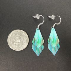 DC Designs - Blue Green Abstract Art Double Sided Layered Necktie Shapes Earrings 2NTT - product images 2 of 4
