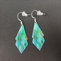 DC Designs - Blue Green Abstract Art Double Sided Layered Necktie Shapes Earrings 2NTT - product images 3 of 4