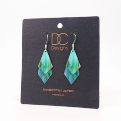 DC Designs - Blue Green Abstract Art Double Sided Layered Necktie Shapes Earrings 2NTT - product images 4 of 4
