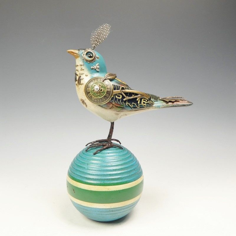 Mullanium Bird - Blue Bird on Vintage Croquet Ball - product image
