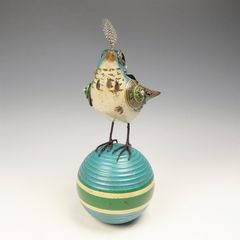 Mullanium Bird - Blue Bird on Vintage Croquet Ball - product images 3 of 11