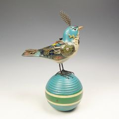 Mullanium Bird - Blue Bird on Vintage Croquet Ball - product images 2 of 11