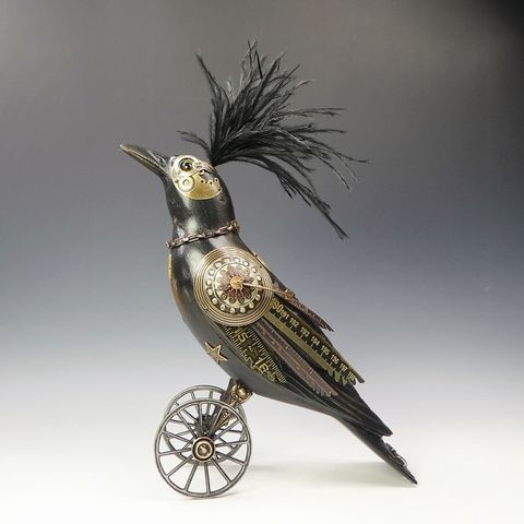 Mullanium,Bird,-,Medium,Crow,Mullanium Bird, Mullanium by Jim and Tori, Mullanium Bird Medium Crow, Steampunk Bird