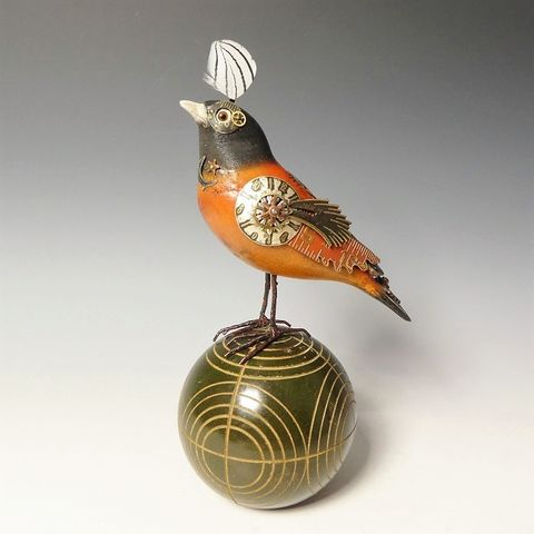 Mullanium,Bird,-,Oriole,on,Vintage,Ball,Mullanium Birds, Mullanium songbirds, mullanium by jim and tori, mullanium art