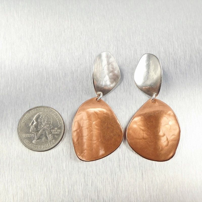 Marjorie Baer Large Two Toned Hammered Petal Earrings - product image