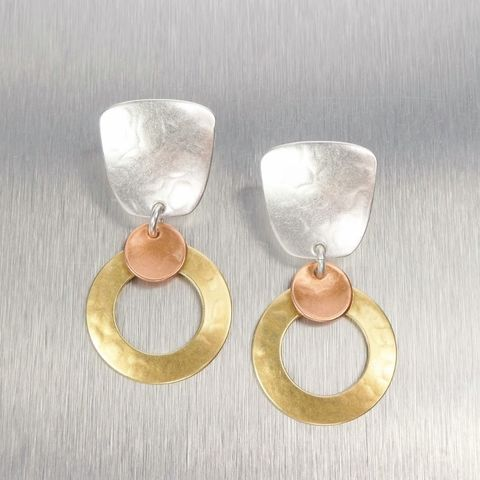 Marjorie,Baer,Tapered,Square,with,Medium,Ring,and,Small,Dished,Disc,Earrings,Marjorie Baer, Brass Earrings, MBSF, Handmade Earrings