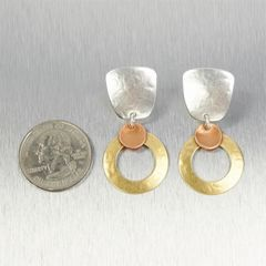 Marjorie Baer Tapered Square with Medium Ring and Small Dished Disc Earrings - product images 3 of 7