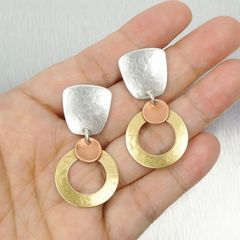 Marjorie Baer Tapered Square with Medium Ring and Small Dished Disc Earrings - product images 4 of 7