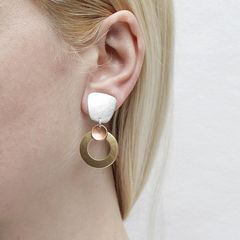 Marjorie Baer Tapered Square with Medium Ring and Small Dished Disc Earrings - product images 2 of 7