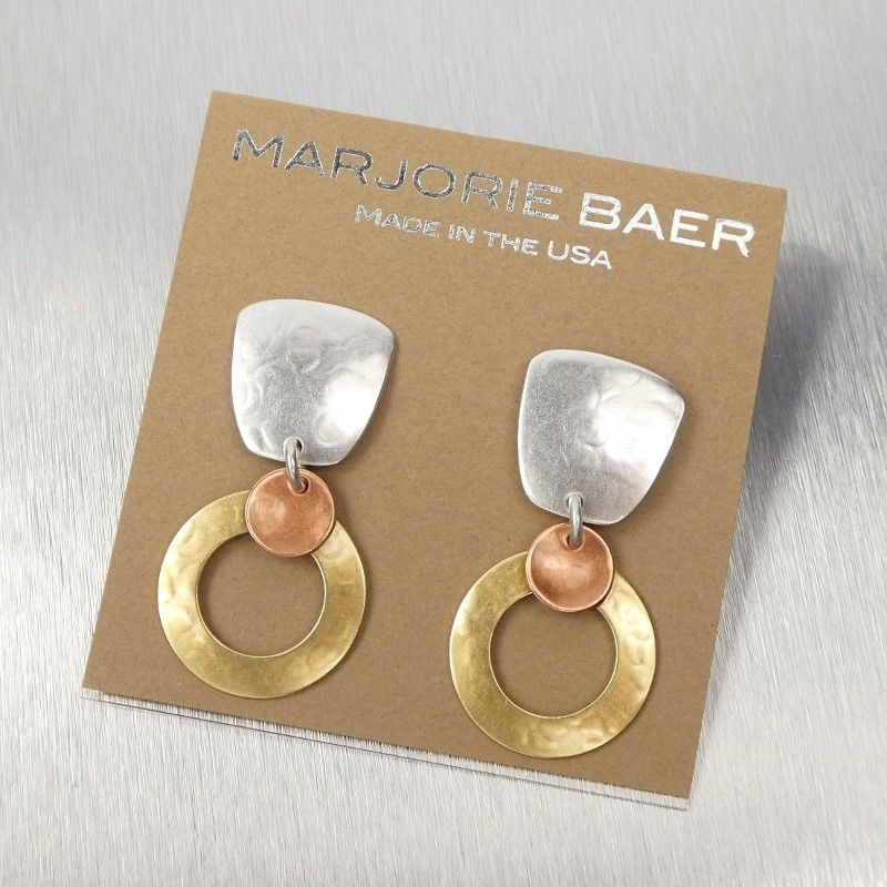 Marjorie Baer Tapered Square with Medium Ring and Small Dished Disc Earrings - product image
