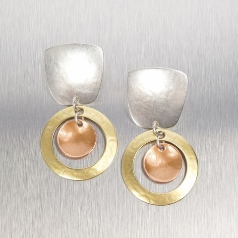 Marjorie,Baer,Tapered,Square,and,Large,Ring,with,Copper,Disc,Earrings,Marjorie Baer, Brass Earrings, MBSF, Handmade Earrings