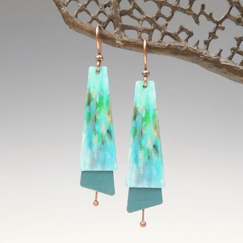 DC,Designs,-,Blue,Green,Abstract,Art,Layered,Long,Copper,Drop,Earrings,2NTE,DC Designs Jewelry, Art Print Earrings, DC Designs Earrings, Handmade Colorado