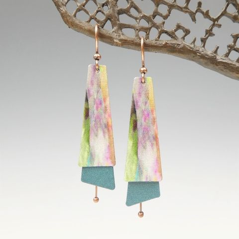 DC,Designs,-,Multicolor,Abstract,Art,Layered,Long,Copper,Drop,Earrings,3NTE,DC Designs Jewelry, Art Print Earrings, DC Designs Earrings, Handmade Colorado