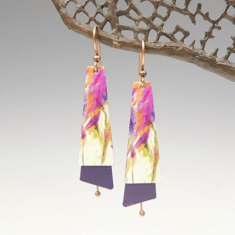 DC,Designs,-,Pink,Cream,Abstract,Art,Layered,Long,Copper,Drop,Earrings,11NTE,DC Designs Jewelry, Art Print Earrings, DC Designs Earrings, Handmade Colorado