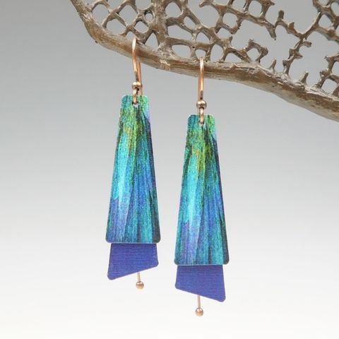 DC,Designs,-,Dark,Teal,Blue,Abstract,Art,Layered,Long,Copper,Drop,Earrings,ME10TE,DC Designs Jewelry, Art Print Earrings, DC Designs Earrings, Handmade Colorado