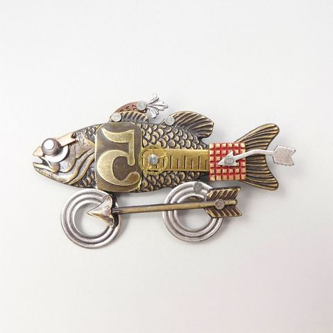 Mullanium,-,Fish,on,Wheel,Pin,Mullanium Fish on Wheel Pin, Mullanium by Jim and Tori, Mullanium Art, Mullanium pin
