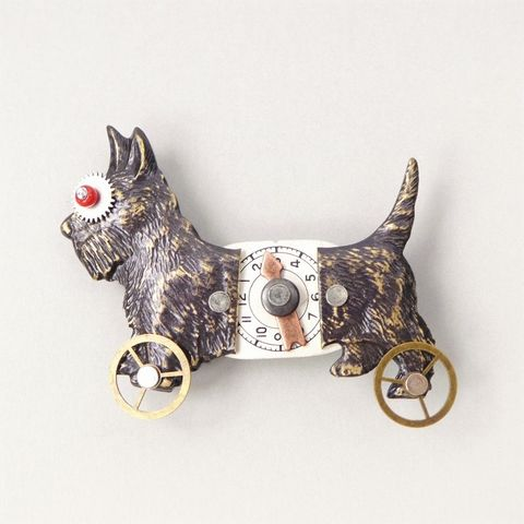 Mullanium,Black,Scotty,Dog,On,Wheels,Pin,Mullanium Black Scotty Dog On Wheels Pin, Mullanium pin, Mullanium dog pin, mixed media pin, steampunk pin