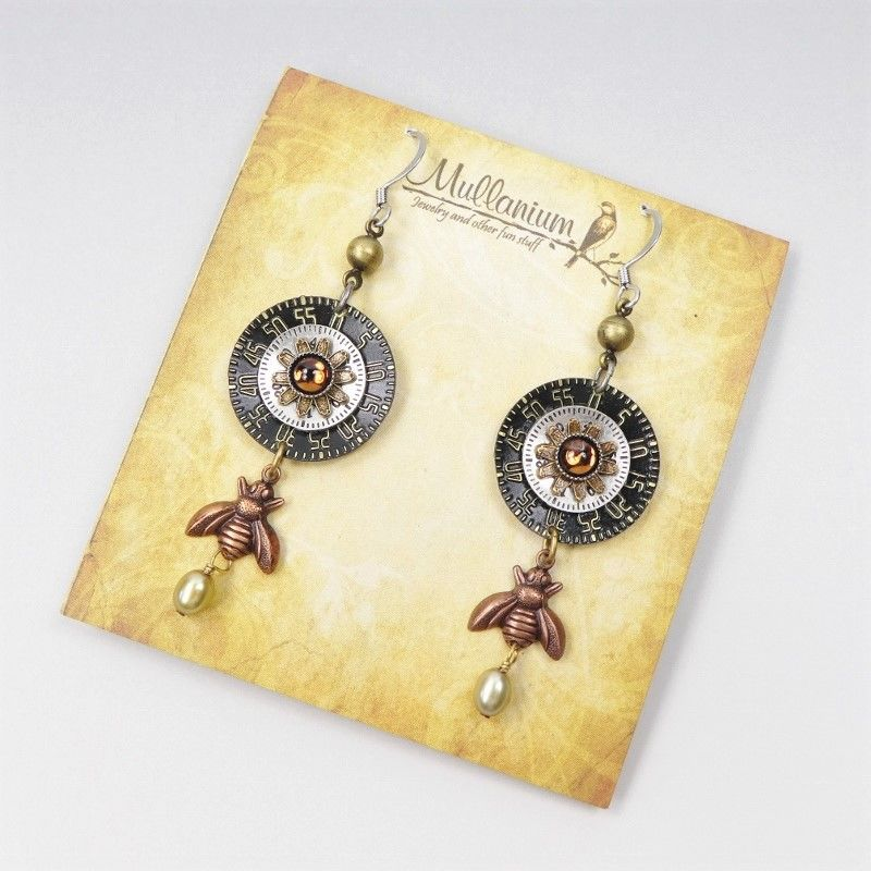 Mullanium Earrings - Copper Bee with Black Clock Dial - product image