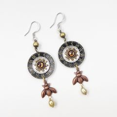 Mullanium Earrings - Copper Bee with Black Clock Dial - product images 2 of 6