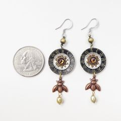 Mullanium Earrings - Copper Bee with Black Clock Dial - product images 3 of 6