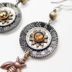 Mullanium Earrings - Copper Bee with Black Clock Dial - product images 4 of 6