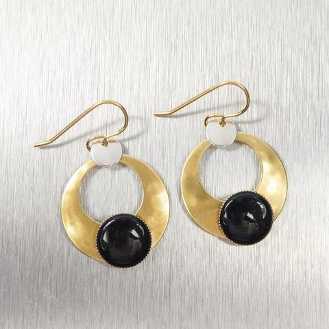 Marjorie,Baer,Cutout,Disc,with,Small,and,Black,Cabochon,Earrings,Marjorie Baer, Brass Earrings, MBSF, Handmade Earrings