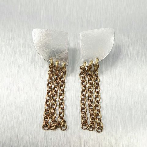 Marjorie,Baer,Textured,Wedge,with,Chain,Fringe,Earrings,Marjorie Baer, Brass Earrings, MBSF, Handmade Earrings