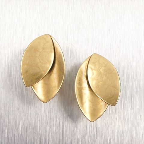 Marjorie,Baer,Layered,Leaves,Earrings,Marjorie Baer, Brass Earrings, MBSF, Handmade Earrings