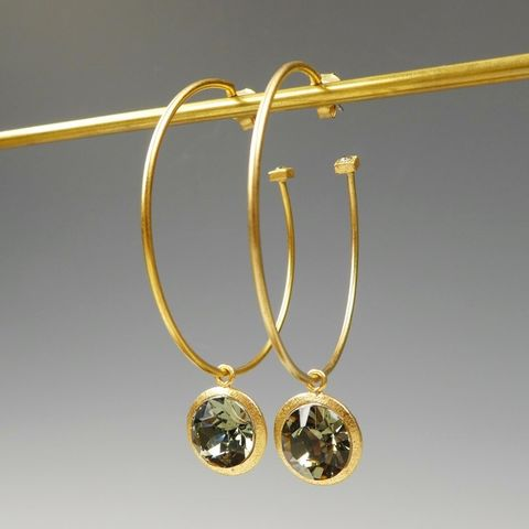 Catherine,Popesco,Gold,Hoop,Earrings,with,Round,Swarovski,Crystal,Drop,Catherine Popesco Earrings, La Vie Parisienne Earrings, Catherine Popesco Jewelry, Catherine Popesco Paris