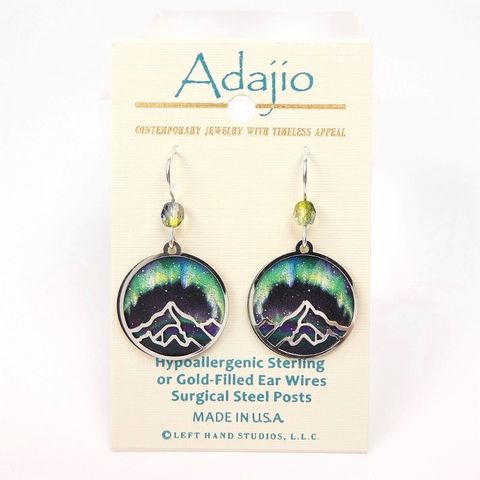 Adajio,Earrings,-,Shiny,Silver,Tone,Mountain,Over,Aurora,Polar,Lights,Print,Disc,Adajio 7973, Adajio Earrings, Adajio earrings Sienna Sky, Etched Brass Earrings, Artisan Handmade