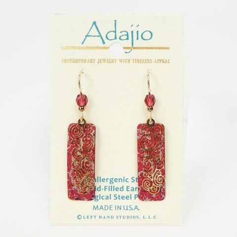 Adajio,Earrings,-,Shiny,Gold,Plated,Spirals,Over,Speckled,Red,Column,Adajio 7984, Adajio Earrings, Adajio earrings Sienna Sky, Etched Brass Earrings, Artisan Handmade