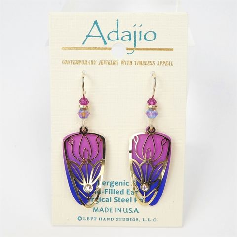 Adajio,Earrings,-,Pink,and,Blue,Trowel,Shape,with,Shiny,Gold,Plated,Tulip,Floral,Overlay,Adajio 7961, Adajio Earrings, Adajio earrings Sienna Sky, Etched Brass Earrings, Artisan Handmade