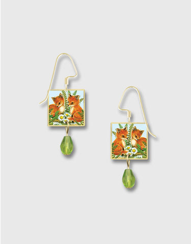 Lemon,Tree,-,Two,Foxes,and,Daisies,Print,Square,Lace,Brass,Earrings,Lemon Tree Earrings Colorado, Lemon Tree Night Owl Print Square Lace Brass Earrings