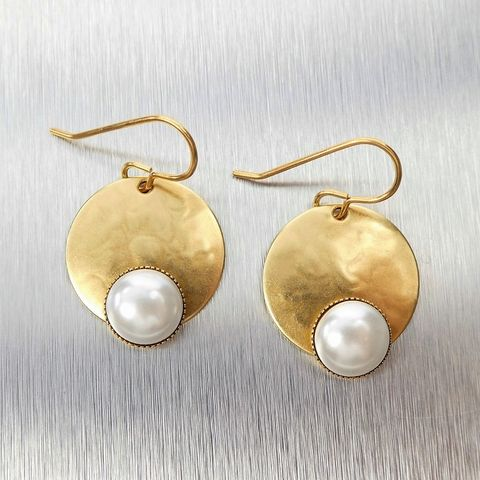 Marjorie,Baer,Hammered,Brass,Disc,with,Pearl,Earrings,Marjorie Baer Earrings, Hammered Brass Earrings with Pearl